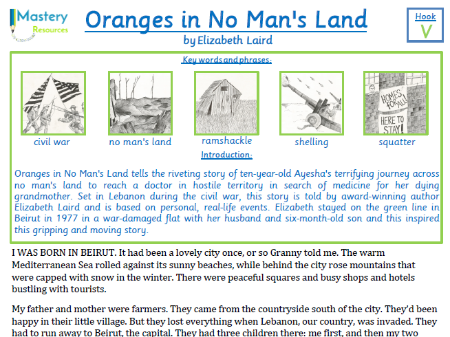 Oranges in No Man's Land by Elizabeth Laird Comprehension KS2