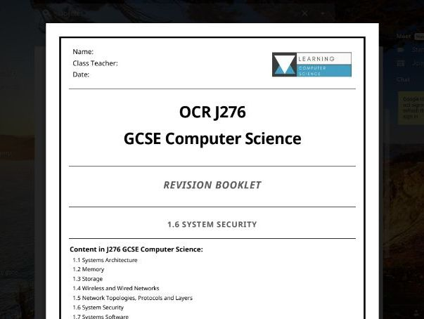 SYSTEM SECURITY Practice Exam Questions  GCSE Computer Science