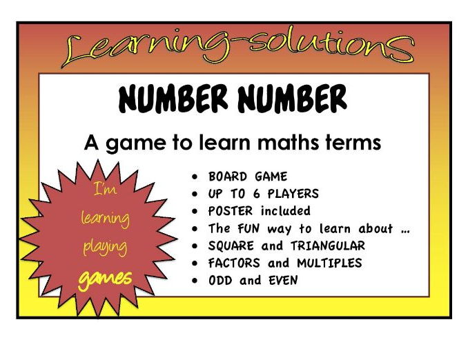NUMBER NUMBER Free Sample  of Board Game to Classify Numbers