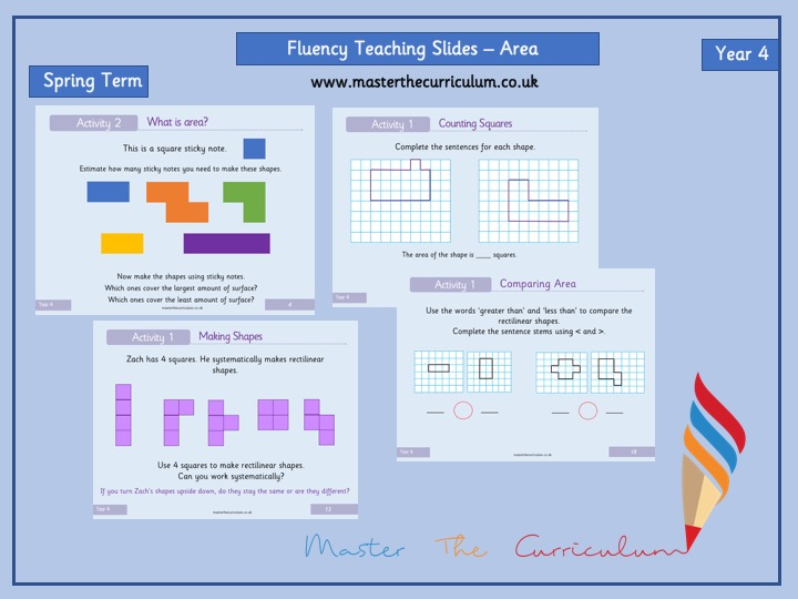 Year 4- Spring- Block 2- Editable Measurement: Area Fluency Slides- White Rose Style