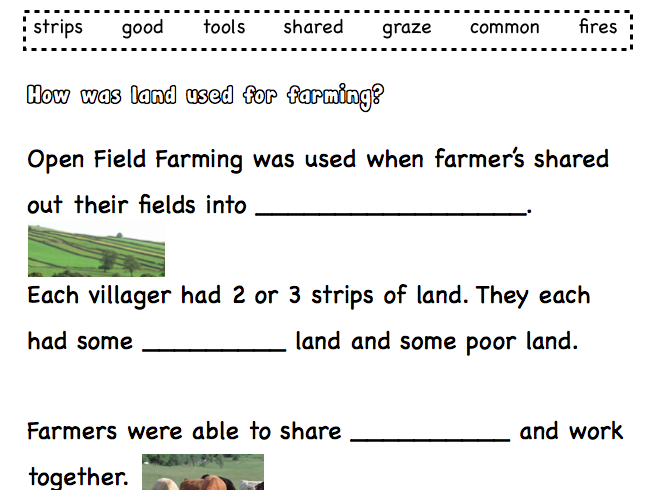 How farmers used their land worksheets.