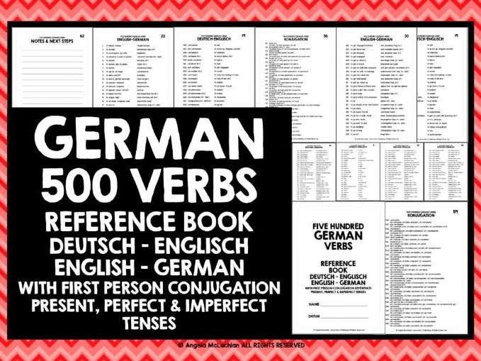 GERMAN VERBS REFERENCE GERMAN-ENGLISH & ENGLISH-GERMAN WITH CONJUGATION GUIDE