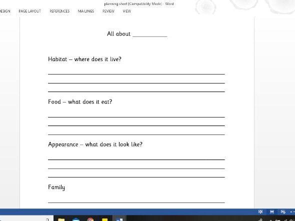 KS1 Fact file planning sheet