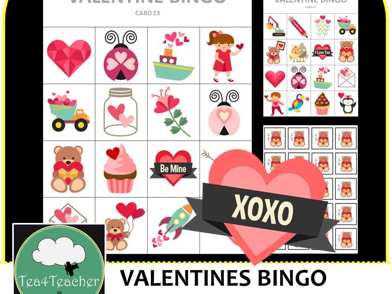 image relating to Printable Valentine Bingo Cards called Valentines Bingo - Lovable Valentine Themed Bingo Recreation for Preschool K-2 children