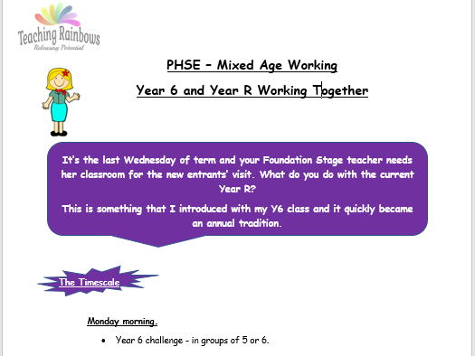 Mixed Age Working: An activity session planned by Year 6 for Year R.