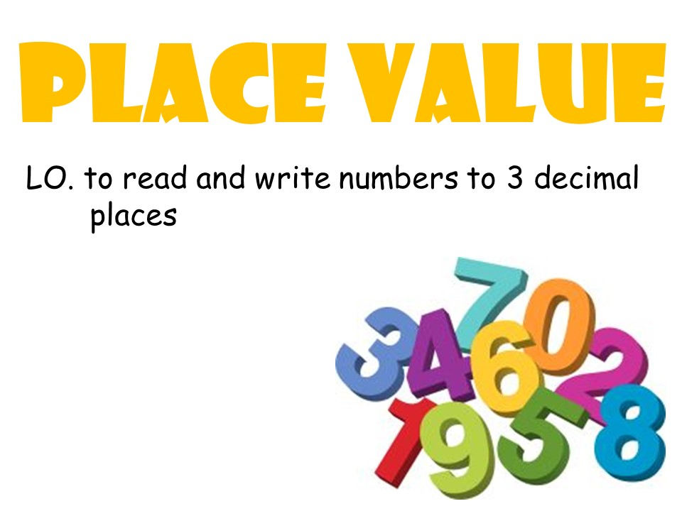 Place Value: Numbers to 3 decimal places