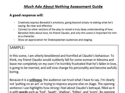 Much Ado Shakespeare: Assessment&Notes