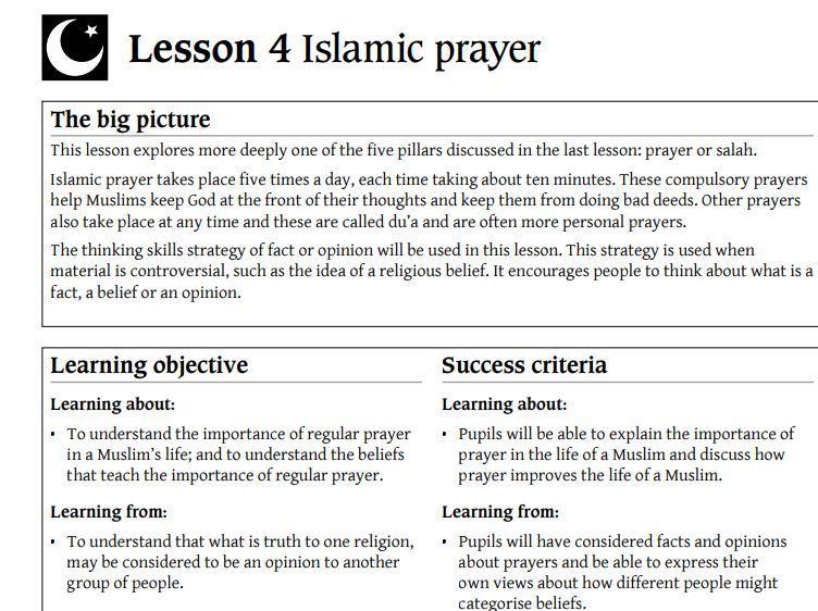 R.E- Year 5- Islamic Prayer