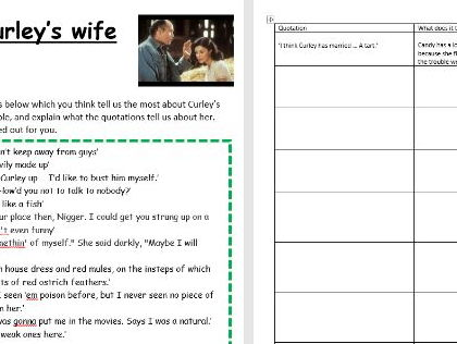 Of mice and men  - Curley's wife revision quote task low level with example