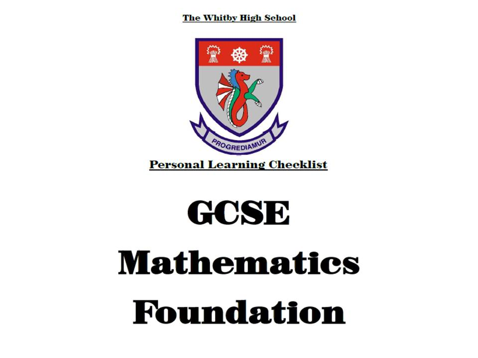 NEW 9-1 Maths Personal Learner Checklist - GCSE Foundation Grade/Topic