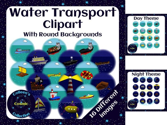 Water Transport Clipart with Round Backgrounds