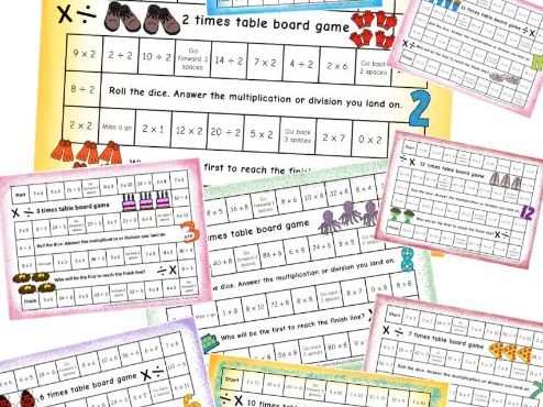 2x to 12x Times Tables Board Games Multiplication AND Division Facts