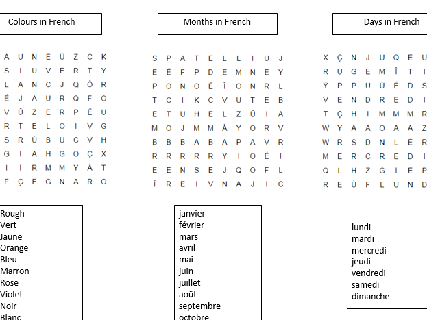 3 French Word Searches - Colours, Days of the Week and Months