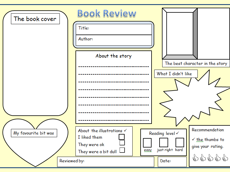 KS1 & 2 Book review blank template