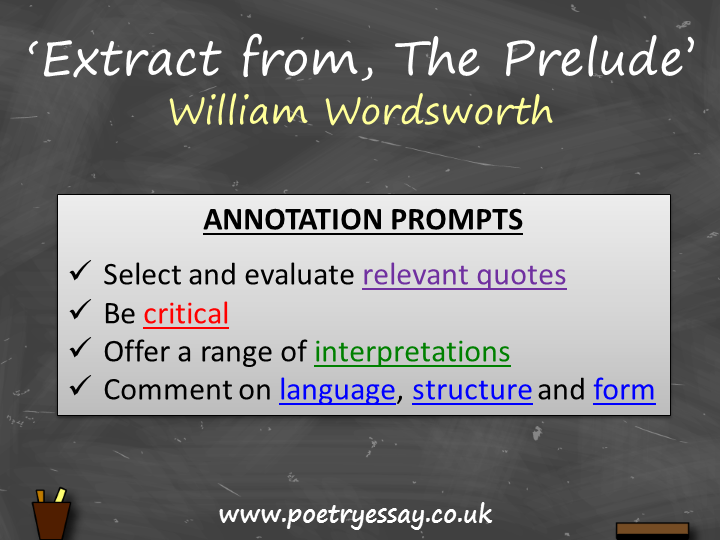 William Wordsworth – 'Extract from, The Prelude' – Annotation