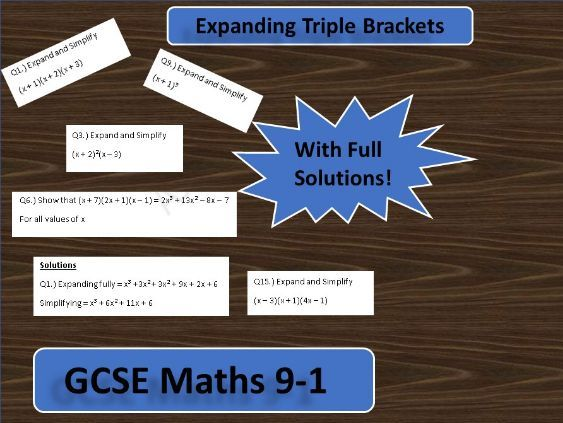 GCSE 9-1 Expanding Triple Brackets Worksheet
