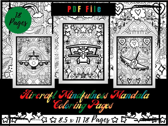 Aircraft Mindfulness Mandala Colouring Pages, Airplanes Colouring Printable PDF
