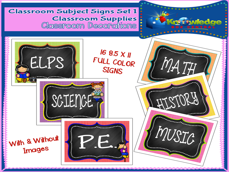Classroom Subject Signs Set 1