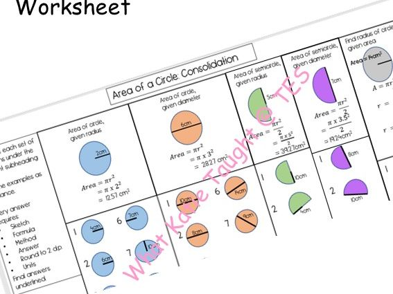 Area of a Circle Consolidation Worksheet