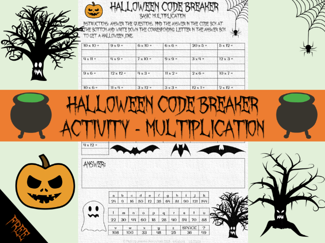 Halloween maths -multiplication code breaker
