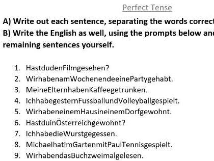 German perfect tense worksheet