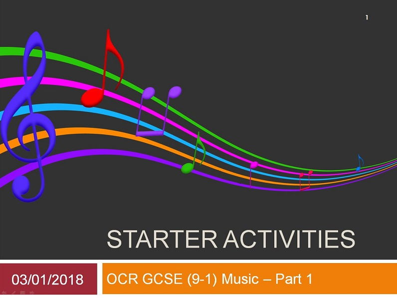 OCR GCSE (9-1) Music Listening Starters Part 1