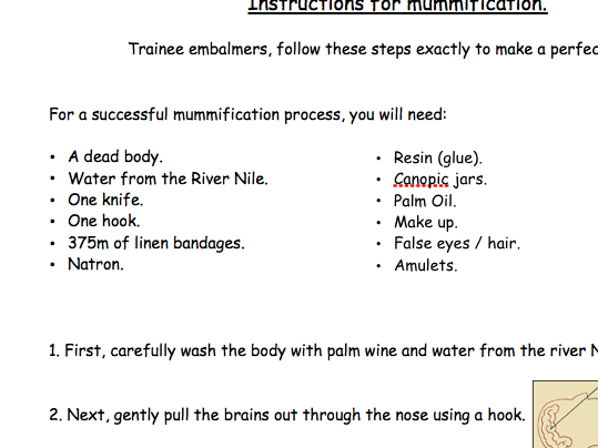 Instructions for Mummification