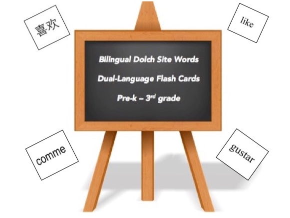 4 Language multilingual dolch words cards: English, Spanish, French, Chinese