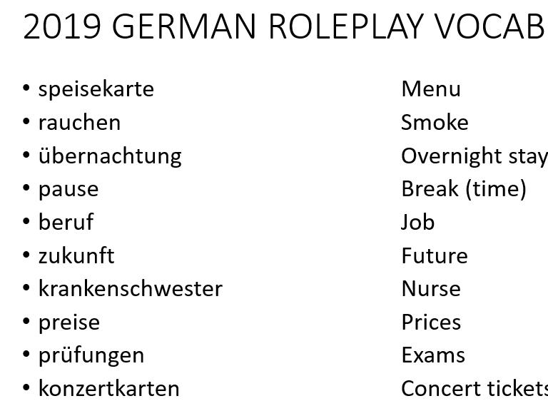 2019 AQA GERMAN ROLEPLAY VOCABULARY