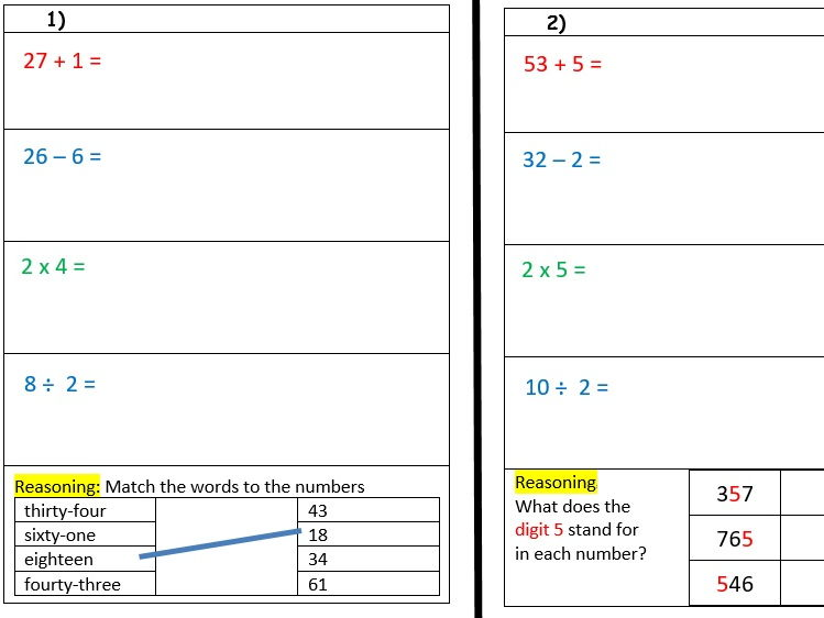 Year 3, 5 minute warm up tasks with 4 operations -  reasoning and problem solving- Autumn 1 week 6