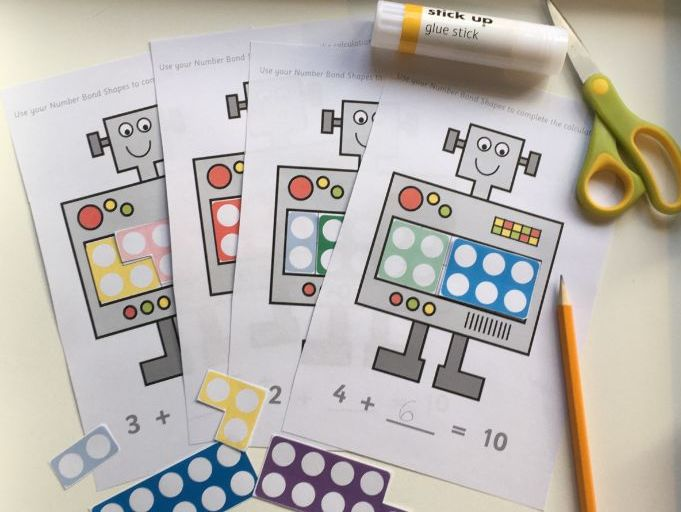 Robot Number Bonds to 10 Cut and Stick Worksheets