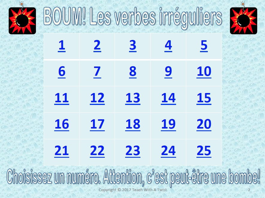 BOUM! French Grammar Game-Irregular Verbs: Faire Avoir Aller Etre- End of year/End of unit