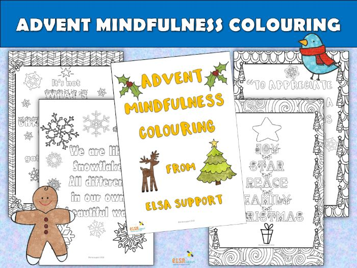 ELSA SUPPORT - Christmas - ADVENT MINDFULNESS COLOURING SHEETS
