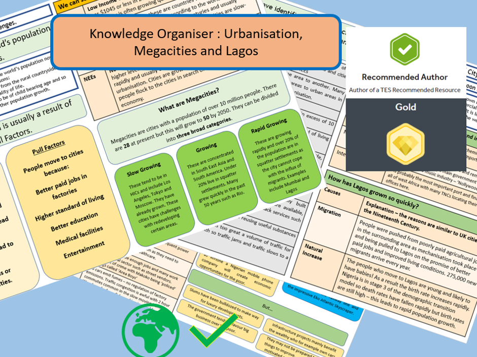 GCSE AQA 9-1: Urban Issues, Megacities and Lagos -Knowledge Organisers and Revision Summaries.