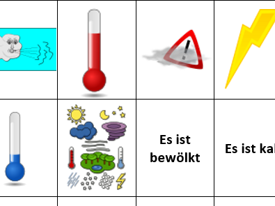 German weather vocab pairs cards