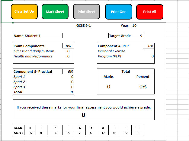 9-1 Edexcel GCSE PE Tracker and Grade Calculator V2.1
