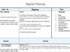 YEAR 6 POETRY PLANNING & RESOURCES