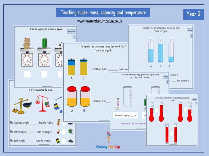 Year 2- Summer Term- Block 4- Mass, Capacity, Temperature Teaching Slides- White Rose Style