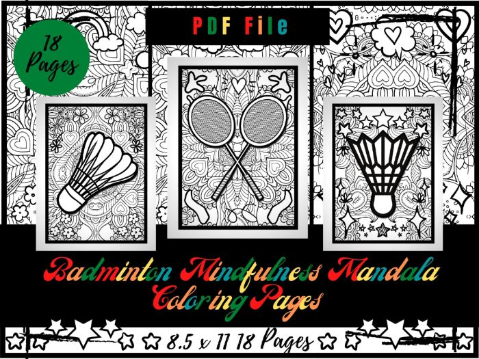 Badminton Mindfulness Mandala Colouring Pages, Sports Colouring Printable Sheets
