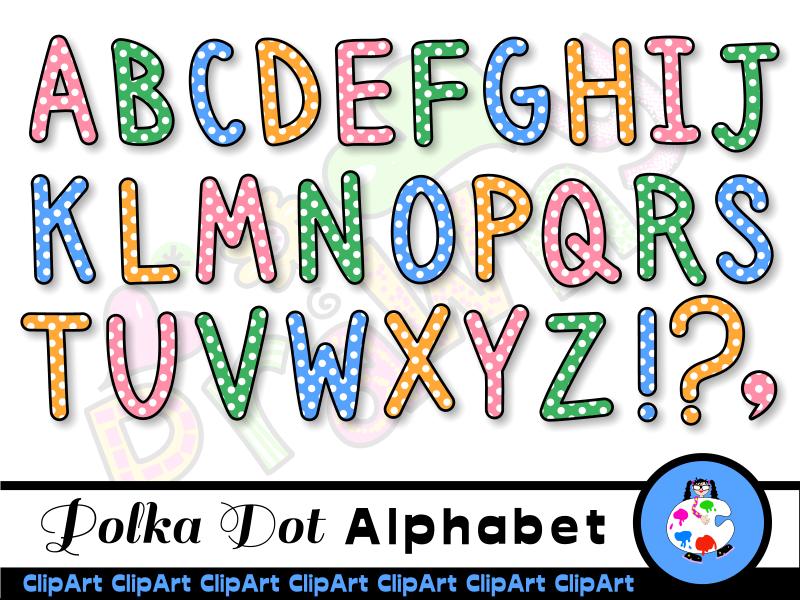 Polka Dot Alphabet Clip Art Set