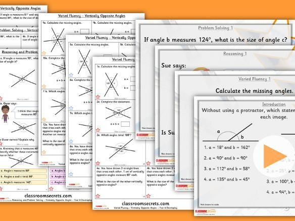 Year 6 Vertically Opposite Angles Summer Block 1 Lesson Pack