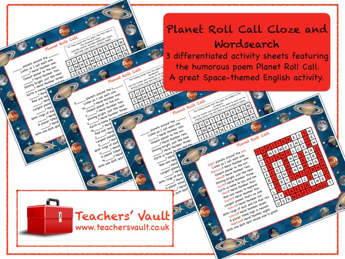 Planet Roll Call Cloze and Wordsearch