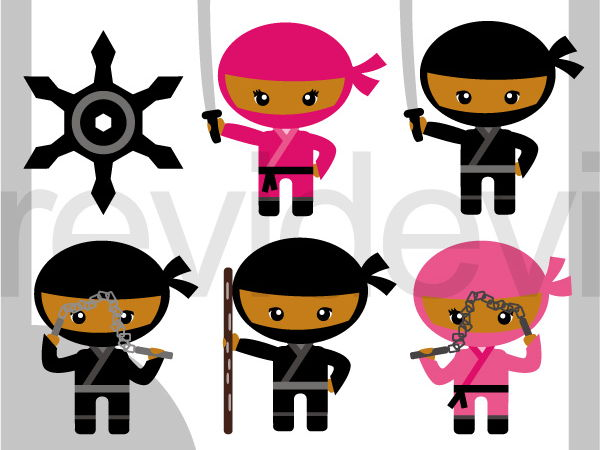 Cute Ninja Clip art - Dark skin with black pink costumes clipart