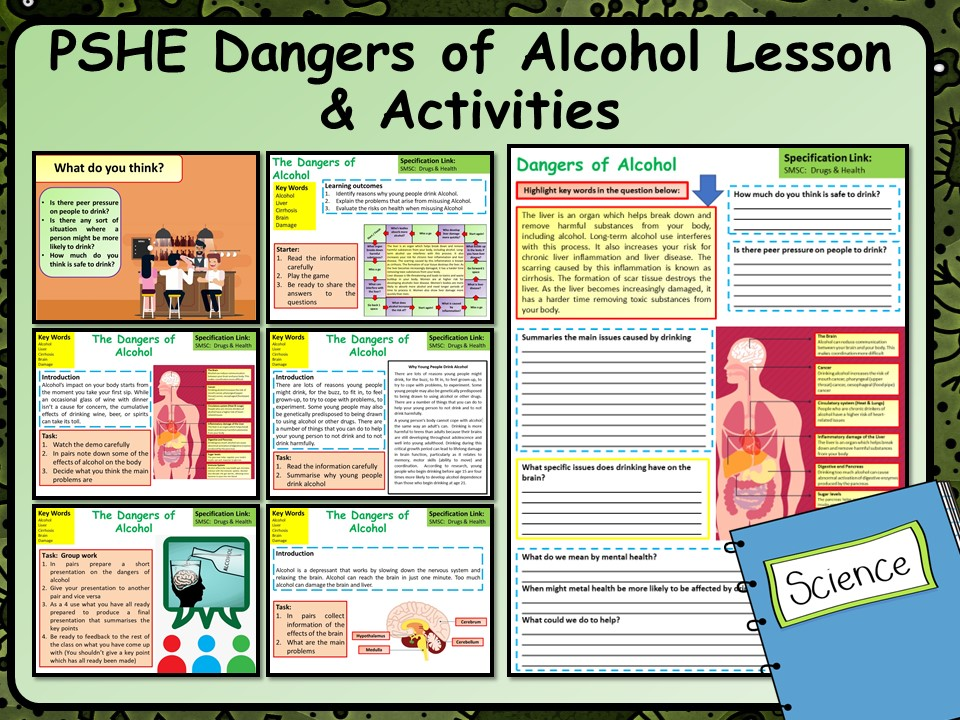 PSHE Dangers of Alcohol Lesson & Activities