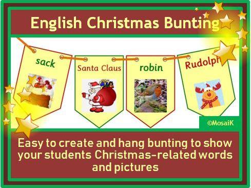 English, EAL, ESL: 30 flags for Christmas bunting