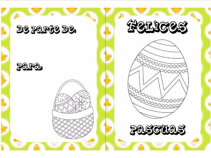 Spanish Easter colouring cards 5