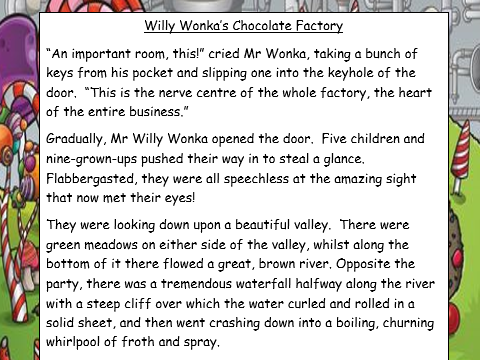 Year 4 Literacy Unit-Charlie and the Chocolate Factory-Setting description of Wonka's Chocolate Room