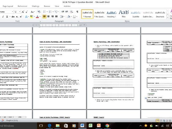 #2NEW 2016 spec's - GCSE PE Homework/Starter/Plenary/Progress/Extension Question Pack and Markscheme