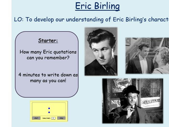 Eric Birling Revision An Inspector Calls