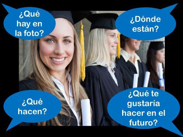 Spanish GCSE Foundation education photo card practice